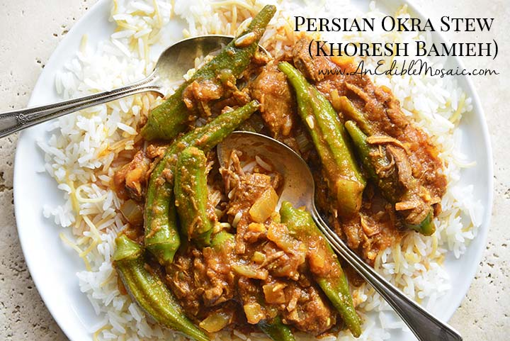 Persian Okra Stew (Khoresh Bamieh) on White Plate with Description