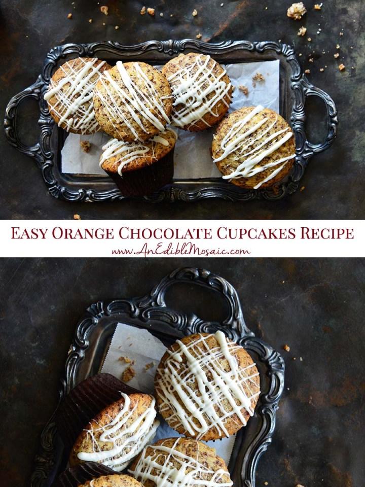 Easy Orange Chocolate Cupcakes Recipe Pinnable Image