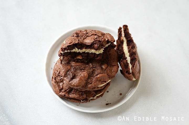 Double Chocolate Almond Chewy Cookie Sandwiches Recipe ...