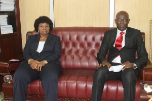 ANEEJ Deputy E.D Comr. Leo Atakpu and The Speaker of Edo State House of Assembly Hon. Mrs E. Ativie