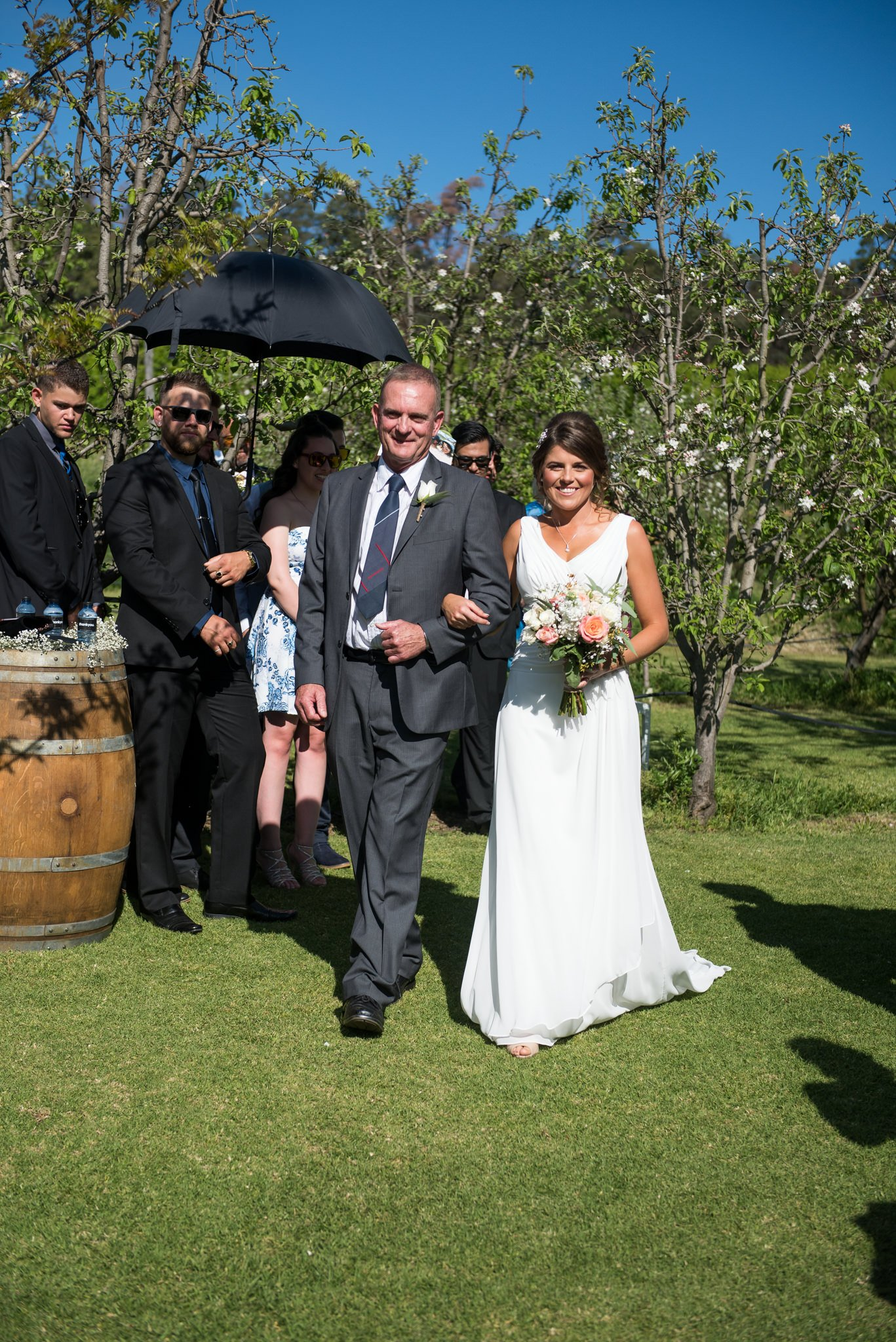bride and father walking the aisle