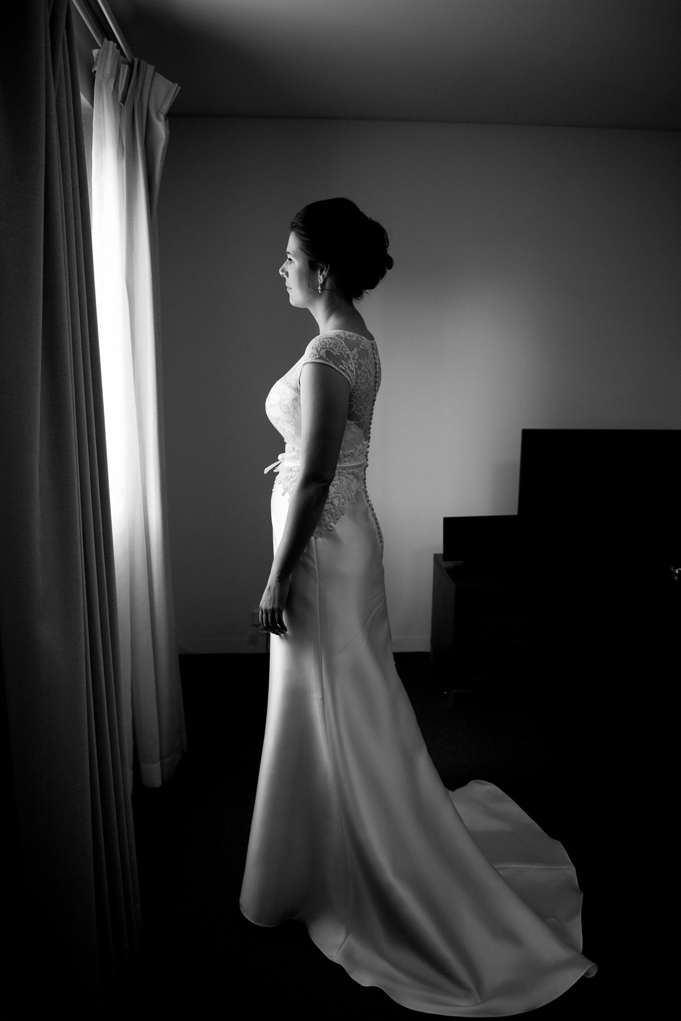 bride ready by the window