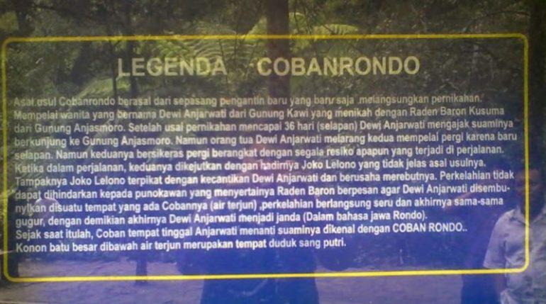 Legenda, misteri dan mitos Coban Rondo