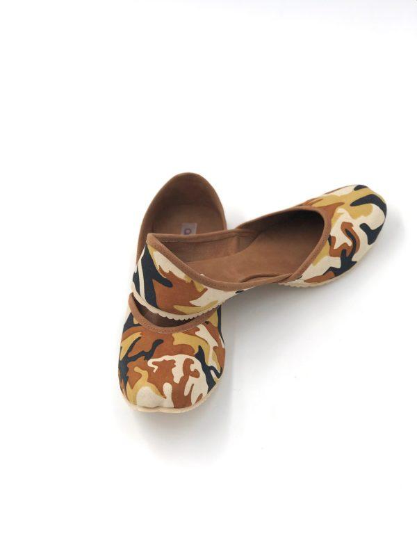 Brown Camouflage Punjabi Jutti & Ballerina