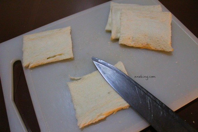 3. Flatten the bread that you sliced.