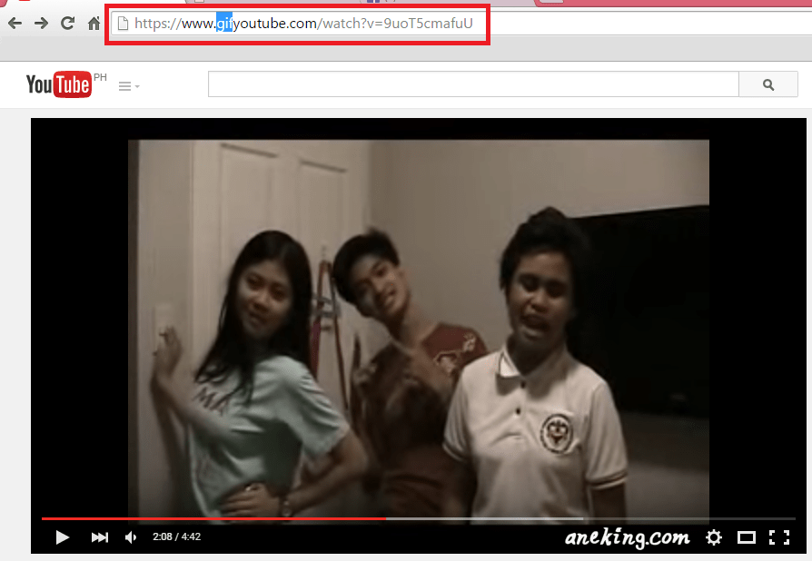 """2. In the URL, add the word """"gif"""" after """"www."""" and before the word """"youtube."""""""