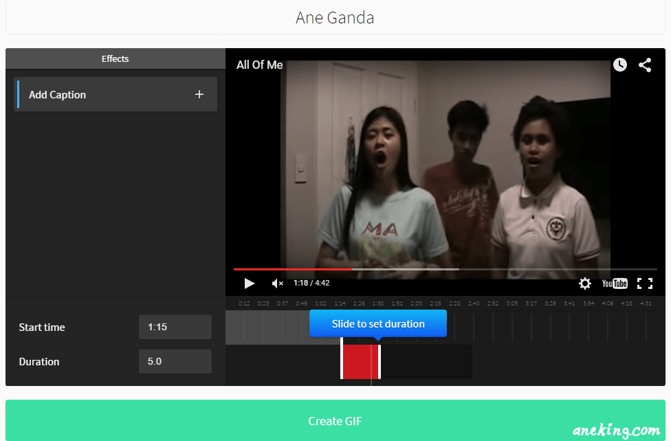 5. Slide the shorter line to the time where you want to end your GIF.