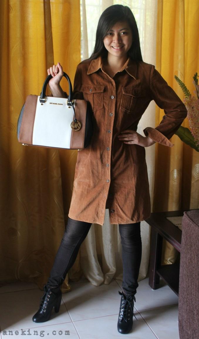 brown and white MK bag