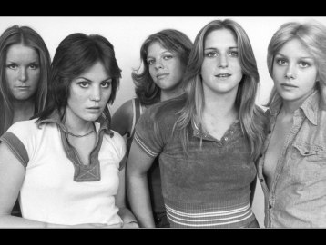 "Parents' nightmare? In a 1976 photo, famed ""girl"" band, The Runaways, show some attitude."