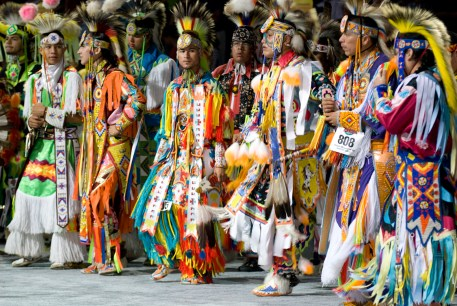 A photo shows a line of Cheyenne grass dancers in costume for competition at the 2007 National Pow Wow