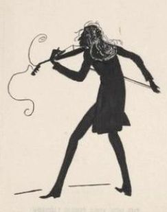 A 19th century black-on-white silhouette drawing of Paganini