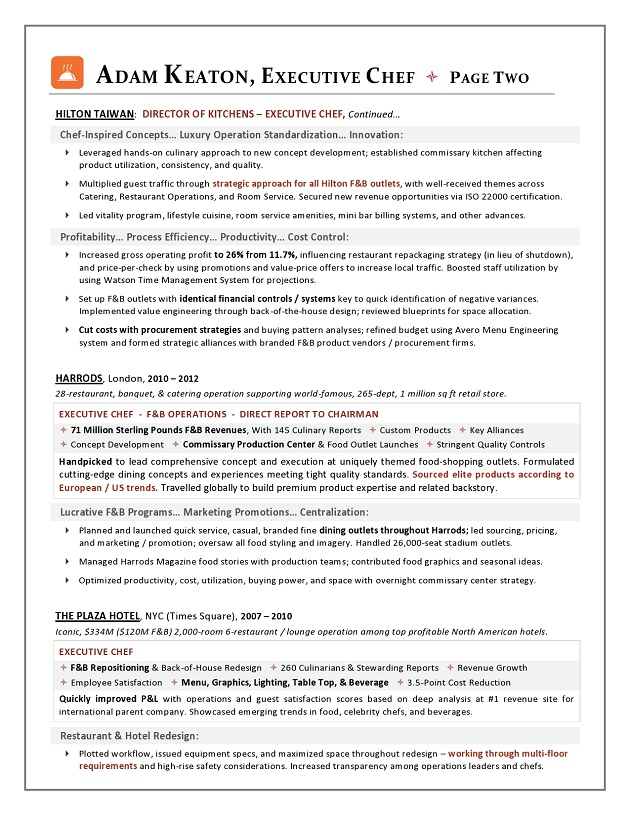 Award Nominated Executive Chef Sample Resume Executive