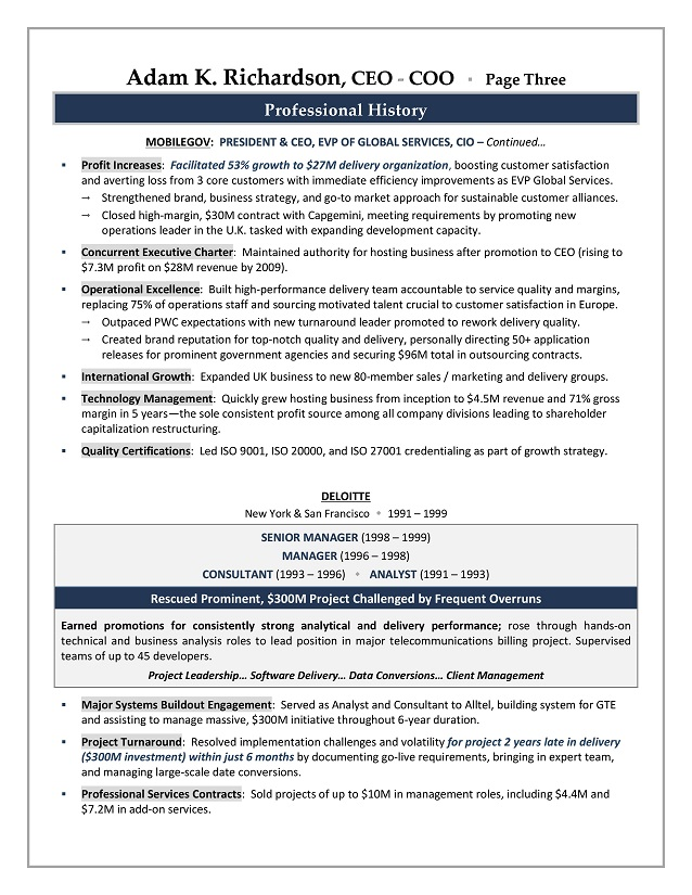 CEO COO Sample Resume Executive Resume Writer