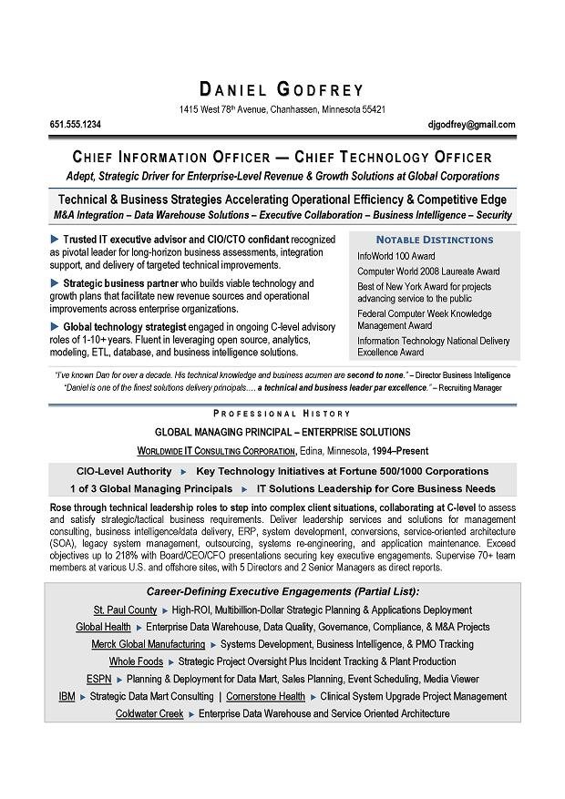 CIO & CTO Sample Resume By Award Winning Executive Resume Writer