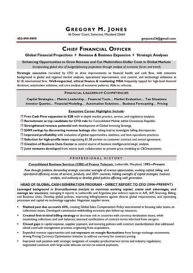 Cfo Sample Resume Executive Resume Writer Chicago