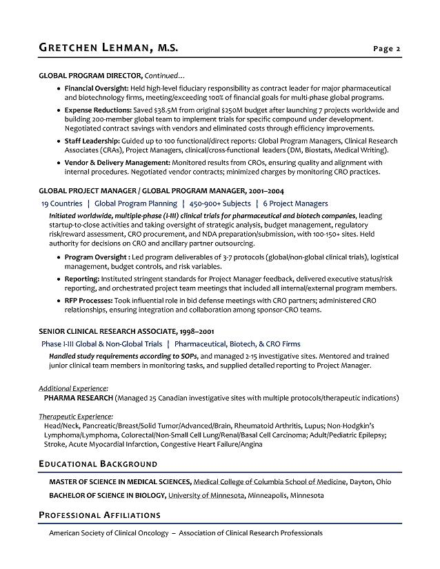 biotech resume samples