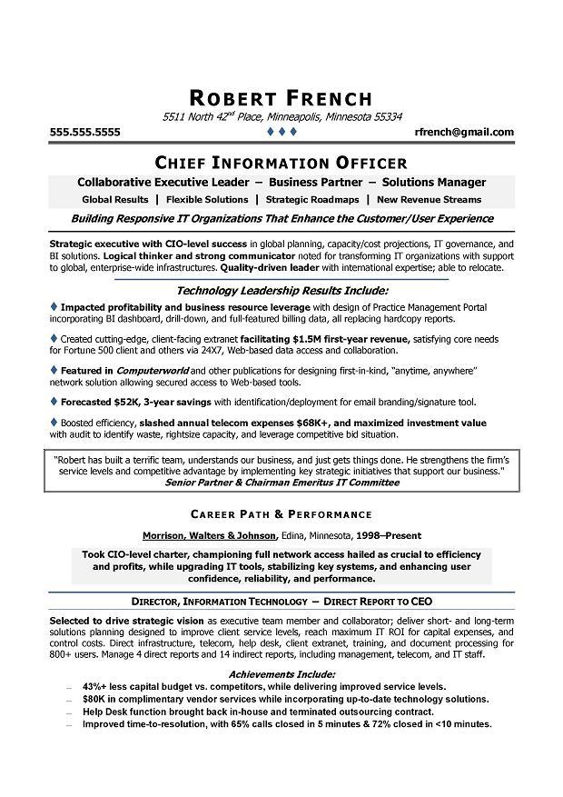 CIO Sample Resume Chief Information Officer Resume IT