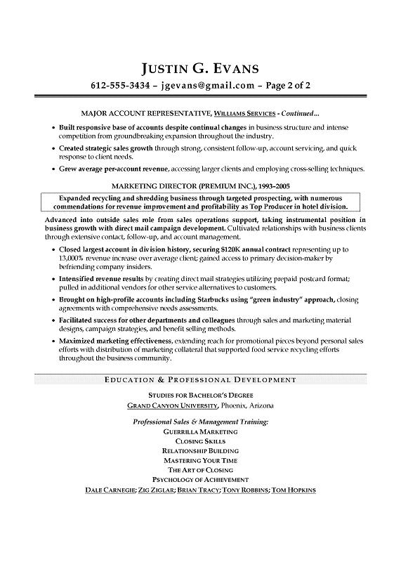 examples of great sales resumes - Resume Examples For Experienced Professionals