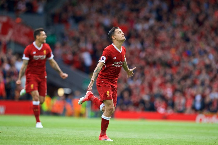 LIVERPOOL, ENGLAND – Sunday, May 21, 2017: Liverpool's Philippe Coutinho Correia scores the second goal against Middlesbrough during the FA Premier League match at Anfield.