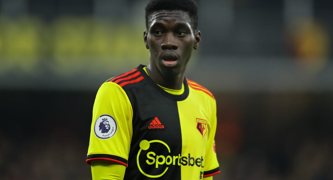 WATFORD, ENGLAND - JANUARY 01: Ismaïla Sarr of Watford in action during the Premier League match between Watford FC and Wolverhampton Wanderers at Vicarage Road on January 01, 2020 in Watford, United Kingdom.