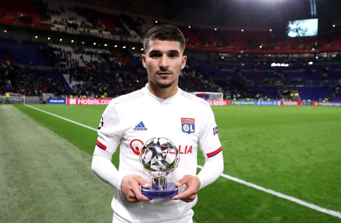 LYON, FRANCE - FEBRUARY 26: Houssem Aouar of Olympique Lyon poses with his Man of the Match Award following the the UEFA Champions League round of 16 first leg match between Olympique Lyon and Juventus at Parc Olympique on February 26, 2020 in Lyon, France.