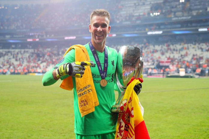 ISTANBUL, TURKEY - AUGUST 14: Adrian of Liverpool celebrates with the trophy at the end of the UEFA Super Cup match between Liverpool and Chelsea at Vodafone Park on August 14, 2019 in Istanbul, Turkey.