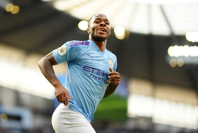 MANCHESTER, ENGLAND - AUGUST 17: Raheem Sterling of Manchester City celebrates after scoring his team's first goal during the Premier League match between Manchester City and Tottenham Hotspur at Etihad Stadium on August 17, 2019 in Manchester, United Kingdom.