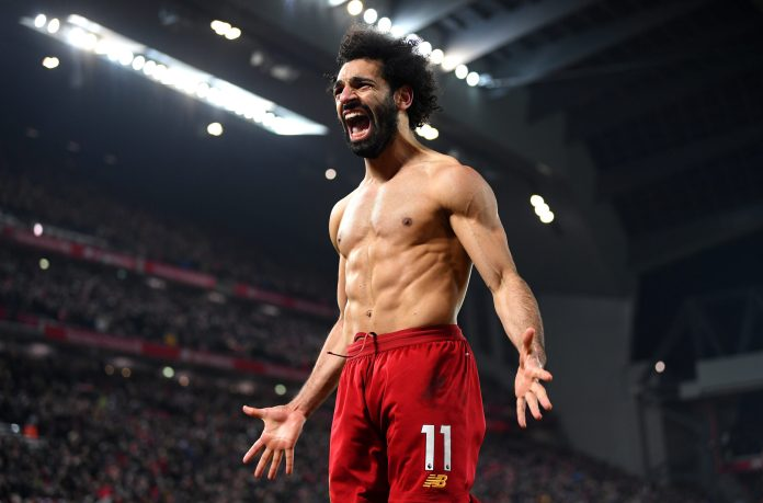 LIVERPOOL, ENGLAND - JANUARY 19: Mohamed Salah of Liverpool celebrates after scoring his team's second goal during the Premier League match between Liverpool FC and Manchester United at Anfield on January 19, 2020 in Liverpool, United Kingdom.