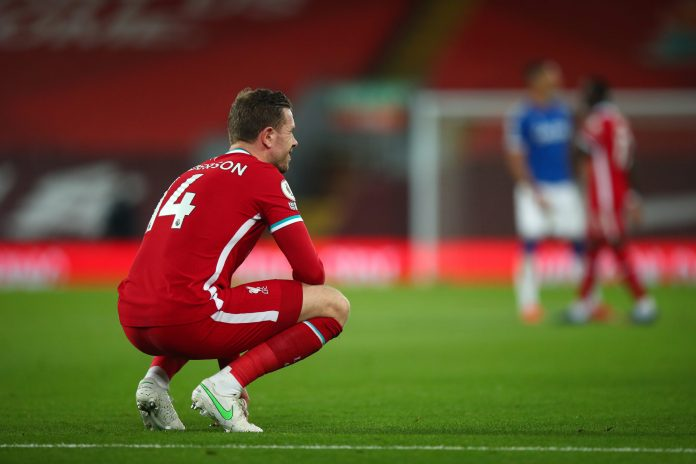 LIVERPOOL, ENGLAND - FEBRUARY 20: Jordan Henderson of Liverpool suffers a hamstring injury, during the Premier League match between Liverpool and Everton at Anfield on February 20, 2021 in Liverpool, United Kingdom.