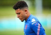 BURTON UPON TRENT, ENGLAND - JUNE 14: Jadon Sancho of England during the England Open Training Session at St George's Park on June 14, 2021 in Burton upon Trent, England.