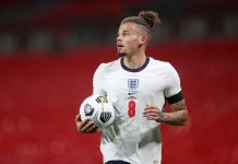 LONDON, ENGLAND - OCTOBER 08: Kalvin Phillips of England looks on during the international friendly match between England and Wales at Wembley Stadium on October 08, 2020 in London, England.