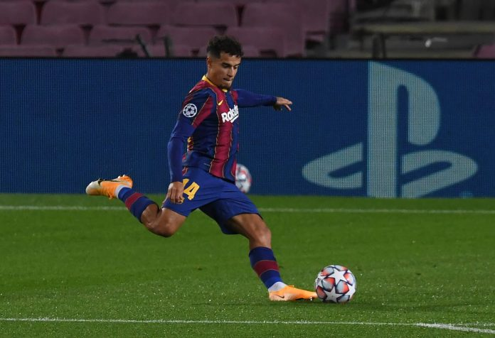 BARCELONA, SPAIN - OCTOBER 20: Philippe Coutinho of FC Barcelona scores his sides third goal during the UEFA Champions League Group G stage match between FC Barcelona and Ferencvaros Budapest at Camp Nou on October 20, 2020 in Barcelona, Spain.