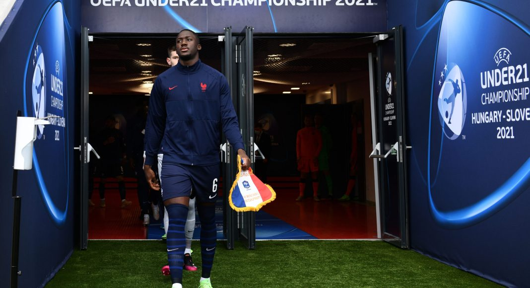 BUDAPEST, HUNGARY - MAY 31: Ibrahima Konate of France leads out the France team ahead of the 2021 UEFA European Under-21 Championship Quarter-finals match between Netherlands and France at Bozsik Stadion on May 31, 2021 in Budapest, Hungary.