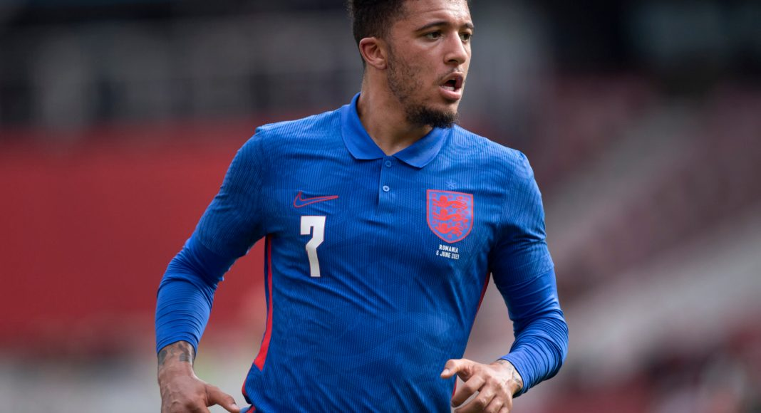 MIDDLESBROUGH, ENGLAND - JUNE 06: Jadon Sancho of England in action during the international friendly match between England and Romania at Riverside Stadium on June 6, 2021 in Middlesbrough, United Kingdom.