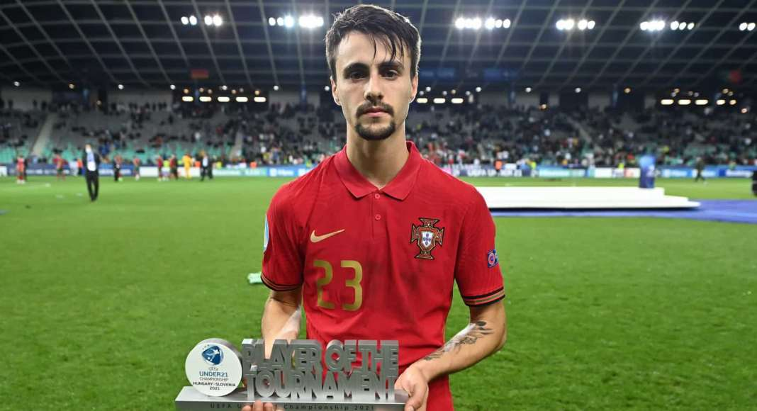 LJUBLJANA, SLOVENIA - JUNE 06: Fabio Vieira of Portugal poses for a photograph with his Player of the Tournament award after the 2021 UEFA European Under-21 Championship Final match between Germany and Portugal at Stadion Stozice on June 06, 2021 in Ljubljana, Slovenia.