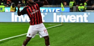 AC Milan's Ivorian midfielder Franck Kessie celebrates after scoring a penalty during the Italian Serie A football match AC Milan vs Lazio Rome on April 13, 2019 at the San Siro stadium in Milan. (Photo by Miguel MEDINA / AFP) (Photo credit should read MIGUEL MEDINA/AFP via Getty Images)