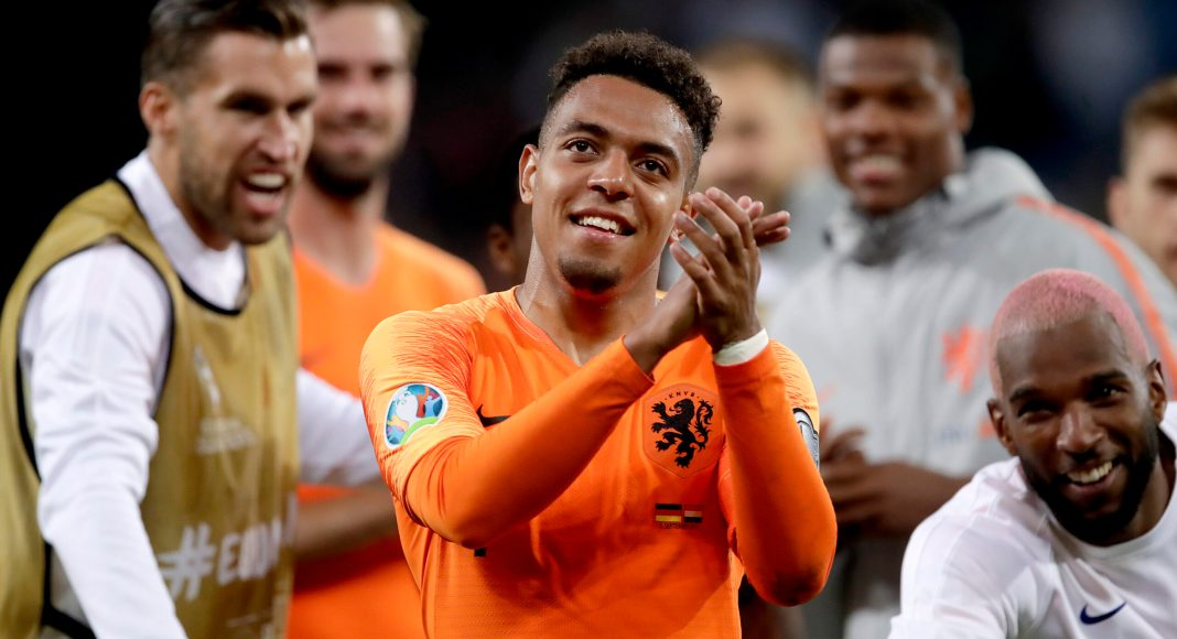 HAMBURG, GERMANY - SEPTEMBER 6: Donyell Malen of Holland celebrates the victory during the EURO Qualifier match between Germany v Holland at the Volkspark Stadium on September 6, 2019 in Hamburg Germany.