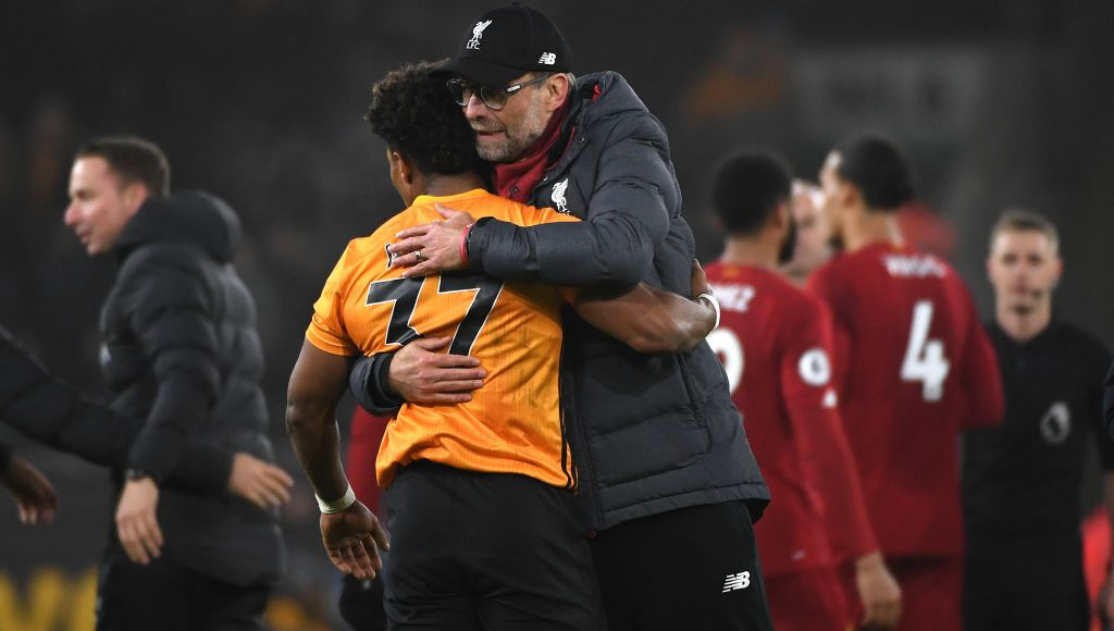 WOLVERHAMPTON, ENGLAND - JANUARY 23: Adama Traore of Wolverhampton Wanderers and Jurgen Klopp the head coach / manager of Liverpool during the Premier League match between Wolverhampton Wanderers and Liverpool FC at Molineux on January 23, 2020 in Wolverhampton, United Kingdom. (Photo by Sam Bagnall - AMA/Getty Images)