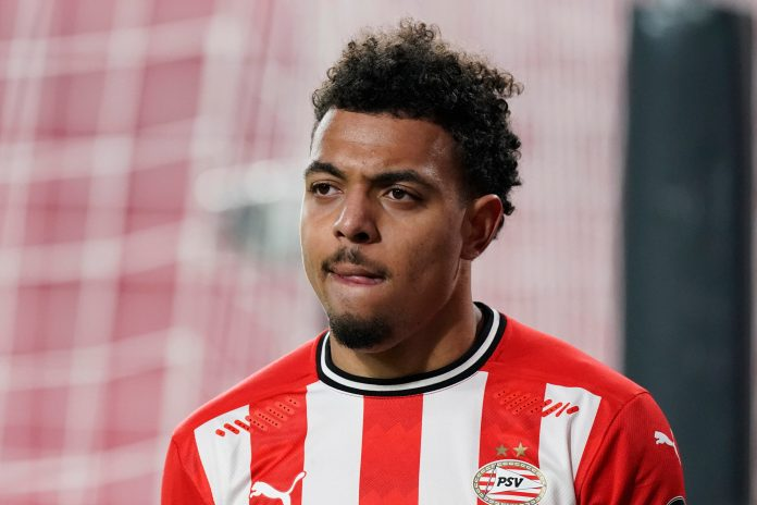 EINDHOVEN, NETHERLANDS - FEBRUARY 6: Donyell Malen of PSV during the Dutch Eredivisie match between PSV v Fc Twente at the Philips Stadium on February 6, 2021 in Eindhoven Netherlands.