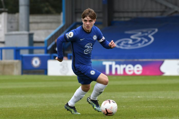KINGSTON UPON THAMES, ENGLAND - APRIL 15: Lewis Bate of Chelsea during the Chelsea U18 v Everton U18 FA Youth Cup match at Kingsmeadow on April 15, 2021 in Kingston upon Thames, England. (Photo by Clive Howes - Chelsea FC/Chelsea FC via Getty Images)