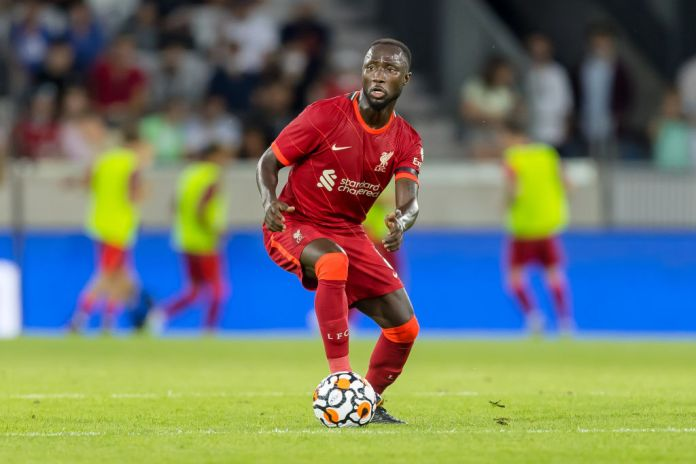 INNSBRUCK, AUSTRIA - JULY 29: (BILD ZEITUNG OUT) Naby Keita of Liverpool FC controls the ball during the Pre-Season Friendly match between Hertha BSC and FC Liverpool at Tivoli Stadion Tirol on July 29, 2021 in Innsbruck, Austria. (Photo by Roland Krivec/DeFodi Images/Roland Krivec/DeFodi Images via Getty Images)