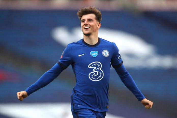 LONDON, ENGLAND - JULY 19: Mason Mount of Chelsea celebrates after scoring his teams second goal during the FA Cup Semi Final match between Manchester United and Chelsea at Wembley Stadium on July 19, 2020 in London, England. Football Stadiums around Europe remain empty due to the Coronavirus Pandemic as Government social distancing laws prohibit fans inside venues resulting in all fixtures being played behind closed doors. (Photo by Chris Lee - Chelsea FC/Getty Images)