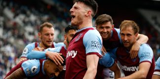 LONDON, ENGLAND - MAY 23: Declan Rice of West Ham United celebrates with team mates after scoring his team's third goal during the Premier League match between West Ham United and Southampton at London Stadium on May 23, 2021 in London, England.
