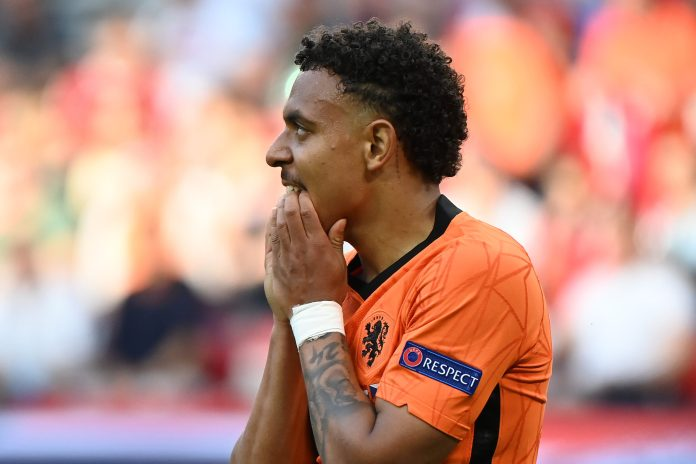 BUDAPEST, HUNGARY - JUNE 27: Donyell Malen of Netherlands reacts during the UEFA Euro 2020 Championship Round of 16 match between Netherlands and Czech Republic at Puskas Arena on June 27, 2021 in Budapest, Hungary.