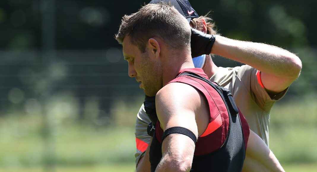 UNSPECIFIED, AUSTRIA - JULY 12:,James Milner during a training session on July 12, 2021 in UNSPECIFIED, Austria.