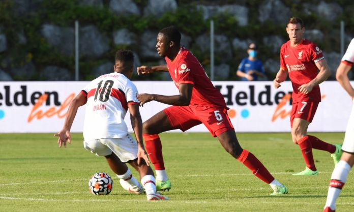 SAALFELDEN, AUSTRIA - JULY 20: (THE SUN OUT, THE SUN ON SUNDAY OUT) Ibrahima Konate of Liverpool during a Pre Season friendly between FC Liverpool and VfB Stuttgart on July 20, 2021 in Saalfelden, Austria. (Photo by John Powell/Liverpool FC via Getty Images) (Photo by John Powell/Liverpool FC via Getty Images)