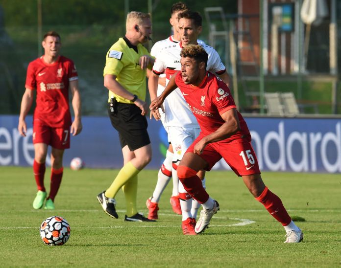 SAALFELDEN, AUSTRIA - JULY 20: (THE SUN OUT, THE SUN ON SUNDAY OUT) Liverpool's Alex Oxlade-Chamberlain during a Pre Season friendly between FC Liverpool and VfB Stuttgart on July 20, 2021 in Saalfelden, Austria. (Photo by John Powell/Liverpool FC via Getty Images) (Photo by John Powell/Liverpool FC via Getty Images)