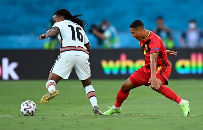 Sevilla, Spain - June 27 : Renato Sanches midfielder of Portugal & Youri Tielemans midfielder of Belgium during the 16th UEFA Euro 2020 Championship Round of 16 match between Belgium and Portugal on June 27, 2021 in Sevilla, Spain, 27/06/2021 ( Photo by Nico Vereecken / Photonews via Getty Images)
