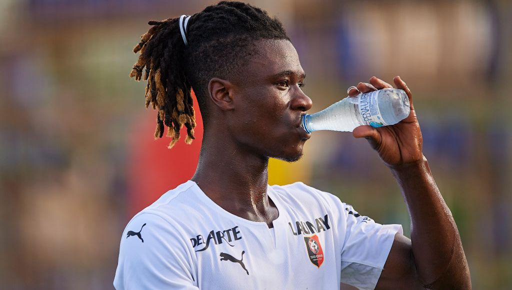 MURCIA, SPAIN - JULY 24: Eduardo Camavinga of Stade Rennais drinks water after a Pre-Season friendly match between Levante UD and Stade Rennais at Pinatar Arena on July 24, 2021 in Murcia, Spain. (Photo by Silvestre Szpylma/Quality Sport Images/Getty Images)