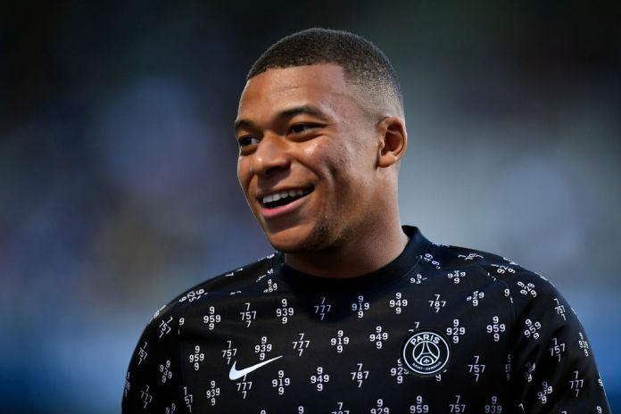 TROYES, FRANCE - AUGUST 07: Kylian Mbappe of Paris Saint-Germain looks during warmup before the Ligue 1 football match between Troyes and Paris at Stade de l'Aube on August 07, 2021 in Troyes, France. (Photo by Aurelien Meunier/Getty Images)